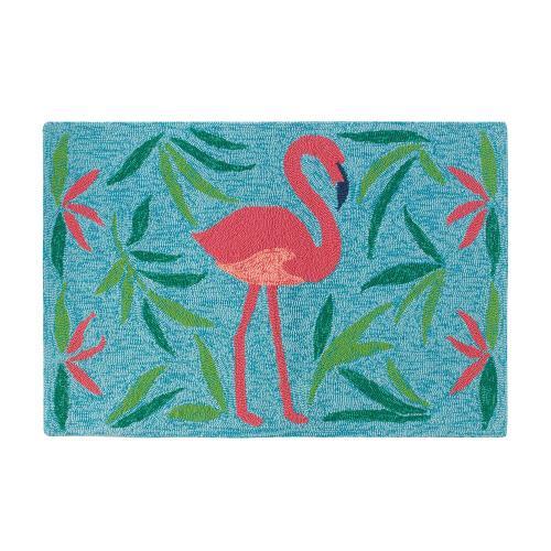 Fancy Flamingo Rug, AQUA, 26X8