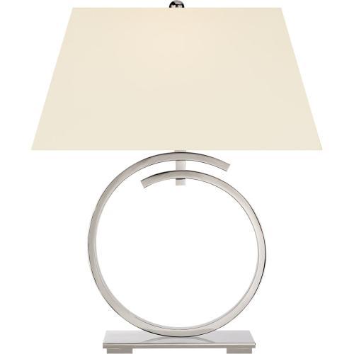Visual Comfort CHA8401PN-PL E. F. Chapman Launceton 29 inch 100 watt Polished Nickel Table Lamp Portable Light, Large Ring