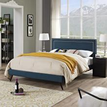 Virginia Full Fabric Platform Bed with Round Splayed Legs in Azure