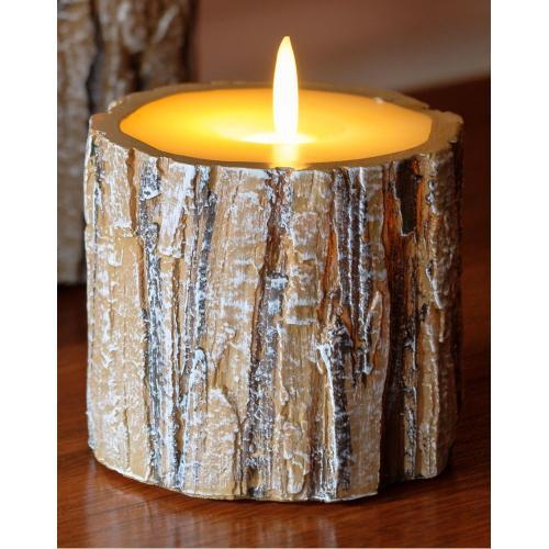 """3"""" Tree Bark LED Candle"""
