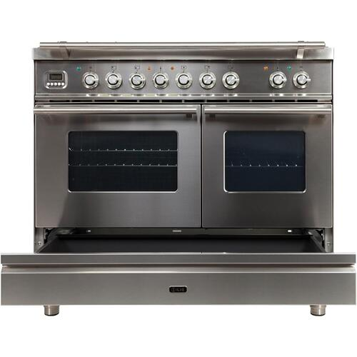 Professional Plus 40 Inch Dual Fuel Natural Gas Freestanding Range in Stainless Steel with Chrome Trim