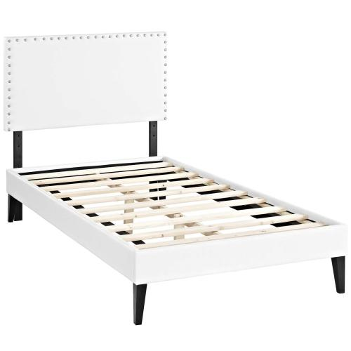 Macie Twin Vinyl Platform Bed with Squared Tapered Legs in White