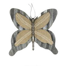 Metal Butterfly Wall Sculpture, Gray