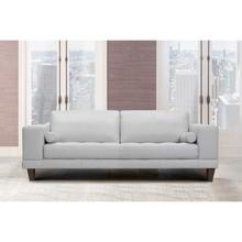 Wynne Contemporary Sofa in Genuine Dove Grey Leather with Brown Wood Legs