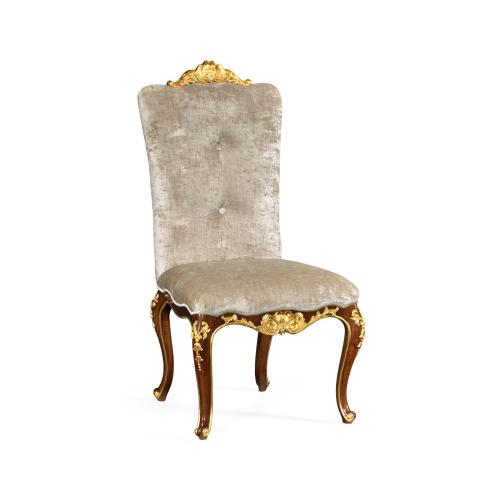 Dining side chair with gilt carved detailing, upholstered in Calico velvet