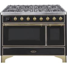 Majestic II 48 Inch Dual Fuel Liquid Propane Freestanding Range in Glossy Black with Brass Trim