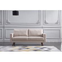 See Details - 8127 BEIGE Linen Stationary Basic Sofa