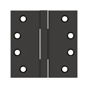 """4""""x 4"""" Square Knuckle Hinges, Solid Brass - Oil-rubbed Bronze"""