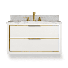 Gloss White Satin Brass MUSE Metal Trim Wallhung 36-in Single Basin Vanity with Carrara Stone Top