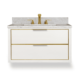 Gloss White Satin Brass MUSE Metal Trim Wallhung 36-in Single Basin Vanity with Carrara Stone Top Product Image