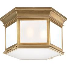 Visual Comfort CHC4126AB-FG E. F. Chapman Club 3 Light 16 inch Antique-Burnished Brass Flush Mount Ceiling Light in Frosted Glass