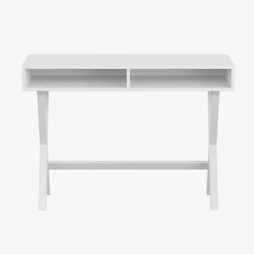 Gallery - Home Office Writing Computer Desk with Open Storage Compartments - Bedroom Desk for Writing and Work, White