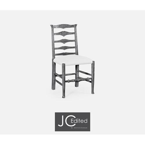 Antique dark grey ladder back side chair (COM)