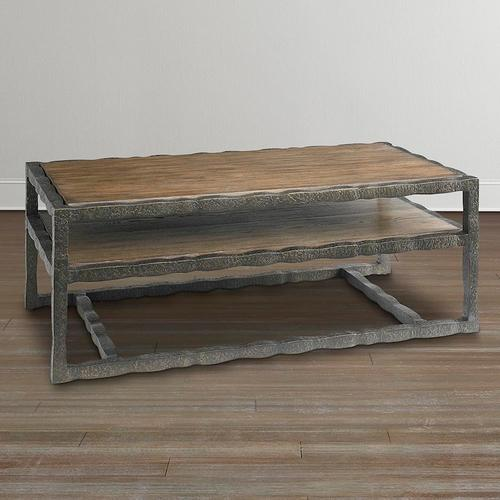 Western Brown Compass Rectangular Cocktail Table