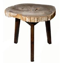 Zandra Petrified Side Table Washed Black Legs, Natural