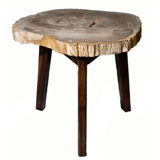See Details - Zandra Petrified Side/ End Table Washed Black Legs, Natural