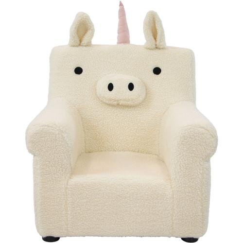 Hanover Outdoor Furniture - Critter Sitters 20-In. Plush White Unicorn Animal Shaped Mini Chair - Furniture for Nursery, Bedroom, Playroom, and Living Room Decor, CSUNICHR-WHT