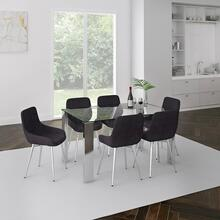 Frankfurt/Cassidy 7pc Dining Set, Chrome/Black