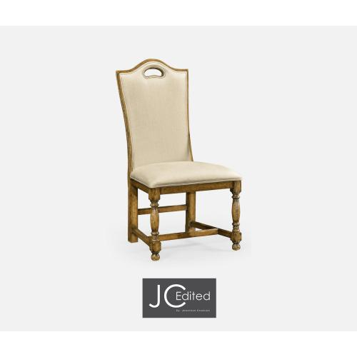 Light Brown Chesnut High Back Side Chair, Upholstered in MAZO
