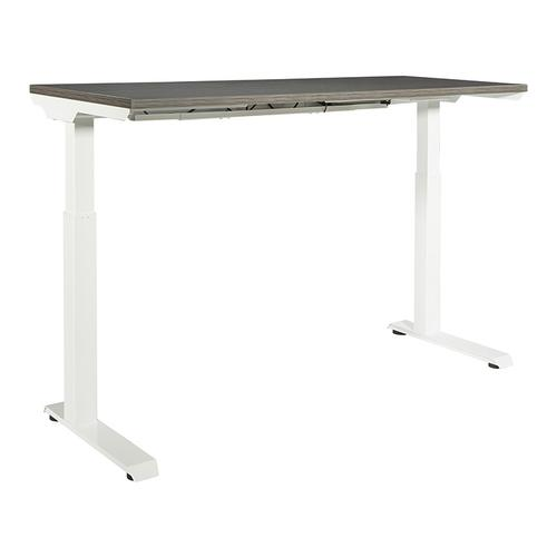 """60""""x24"""" Sit/stand Electric Height-adjustable Table, Slate Grey Top / White Base"""