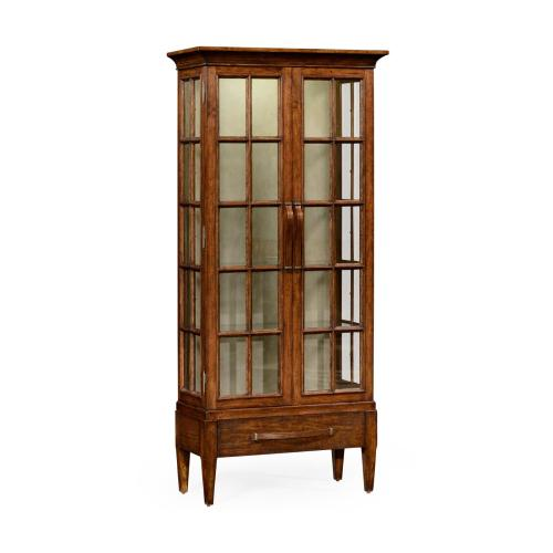 Plank walnut tall glazed bookcase with strap handles on raised base