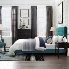 Melanie King Tufted Button Upholstered Fabric Platform Bed in Teal