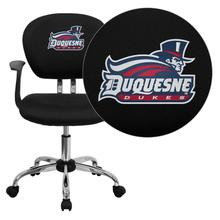 Duquesne University Dukes Embroidered Black Mesh Task Chair with Arms and Chrome Base