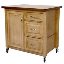 See Details - Kitchen Cart - Distressed Pecan w/Walnut Top