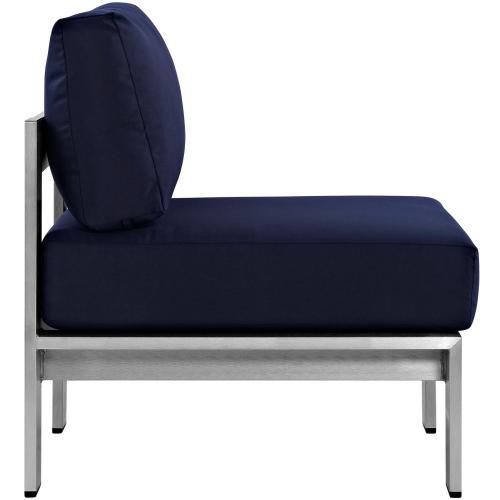 Shore 3 Piece Outdoor Patio Aluminum Sectional Sofa Set in Silver Navy