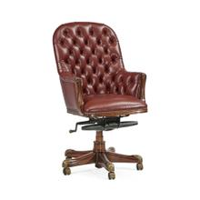 Chesterfield Style High Back Walnut Office Chair, Upholstered in Rich Red Leather
