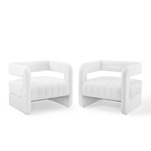 Range Tufted Performance Velvet Accent Armchair Set of 2 in White