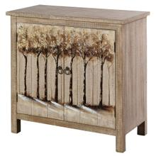 WILLOW HAND PAINTED CABINET  32in X 32in X 15in  Hand Painted Two Door Cabinet With Landscape Desi