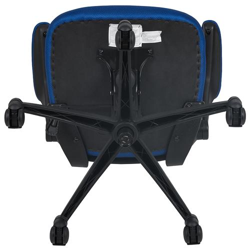 Gallery - Mid-Back Blue Mesh Swivel Ergonomic Task Office Chair with Flip-Up Arms