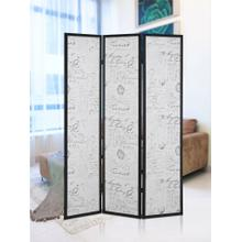See Details - Botticelli 3 Panels Screen Room Divider with English Script Print