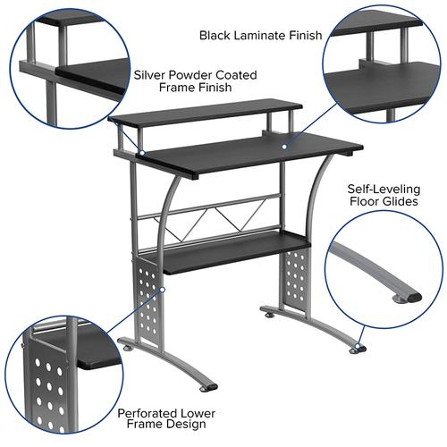 Gallery - Work From Home Kit - Black Computer Desk, Ergonomic Mesh Office Chair and Locking Mobile Filing Cabinet with Side Handles