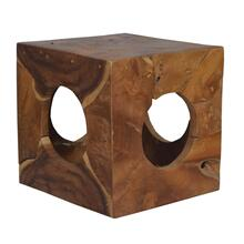 Hole in Wood Cube Stool (16X16X16)