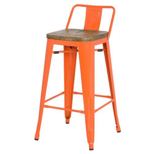 Metropolis Low Back Bar Stool Wood Seat, Orange