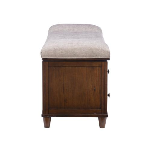 Padded Top Storage Bench, Rustic Chestnut