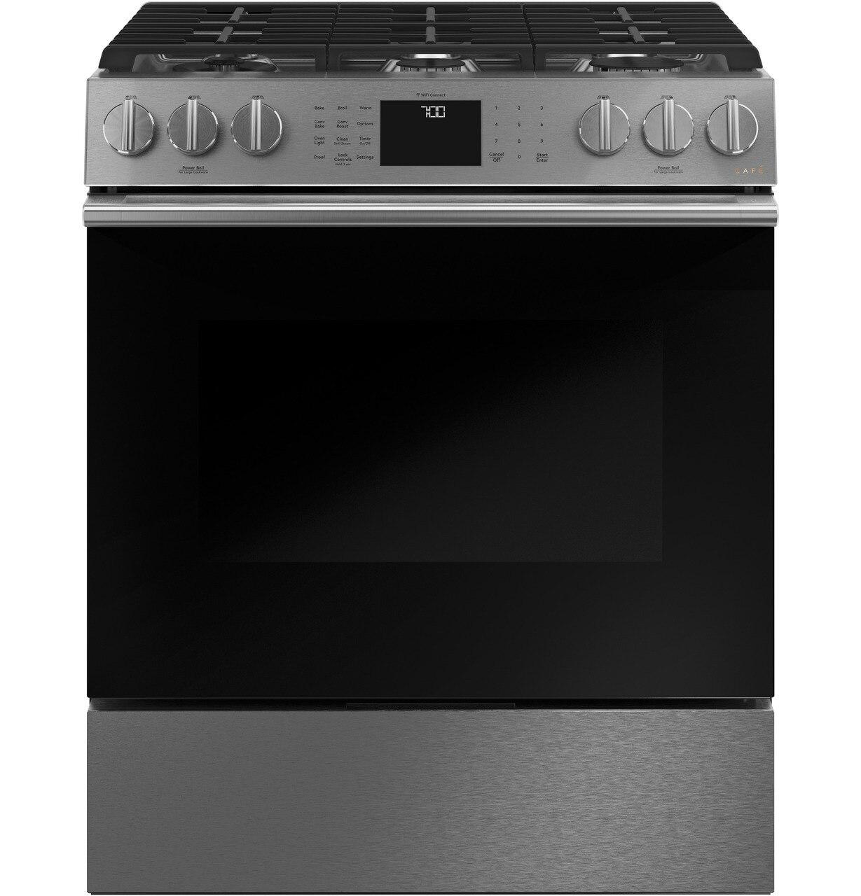 """Cafe Appliances30"""" Smart Slide-In, Front-Control, Gas Range With Convection Oven In Platinum Glass"""