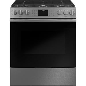"Cafe30"" Smart Slide-In, Front-Control, Gas Range with Convection Oven in Platinum Glass"