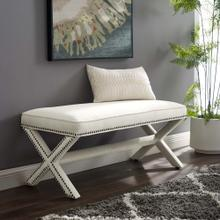 Rivet Performance Velvet Bench in Ivory