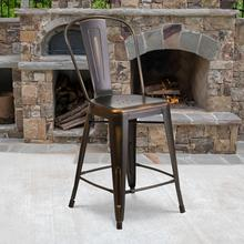 "Commercial Grade 24"" High Distressed Copper Metal Indoor-Outdoor Counter Height Stool with Back"