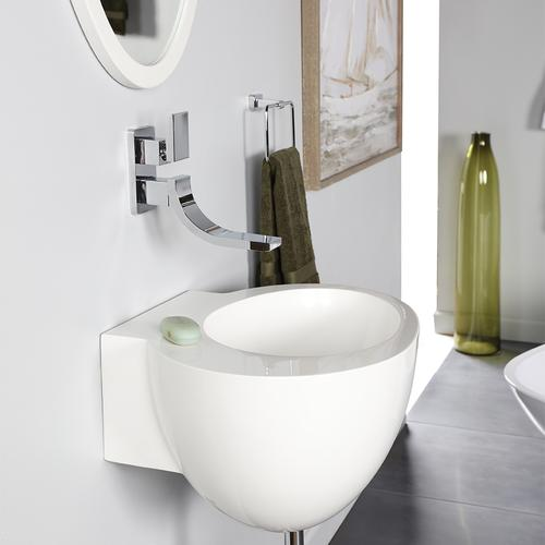Wall-mount solid surface Bathroom Sink with an overflow. One faucet hole.