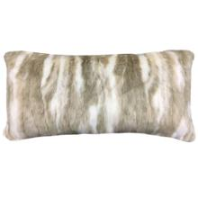 PIMA BOLSTER PILLOW- CREAM TAN  Faux Fur  Down Feather Insert