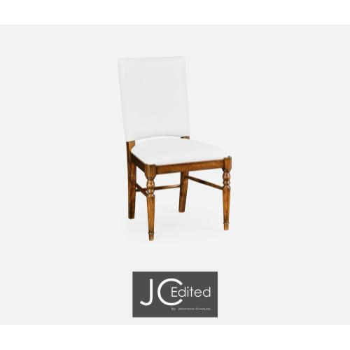 Country walnut upholstered side chair (COM)