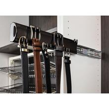 "Satin Nickel 14"" Belt Rack. 6 double hooks design to hold an array of belt sizes. Mounted on a push-to-open slide and easily installs with our Quick-Brac 32mm installation bracket. Can be mounted left or right handed."