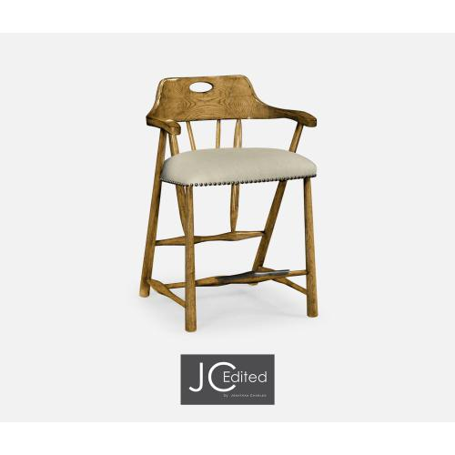 Smokers Style Light Brown Chestnut Counter Stool, Upholstered in MAZO