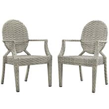 Casper Outdoor Patio Dining Armchair Set of 2 in Light Gray