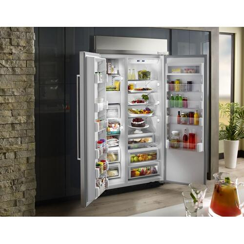 25.5 cu. ft 42-Inch Width Built-In Side by Side Refrigerator with PrintShield™ Finish - Stainless Steel with PrintShield™ Finish