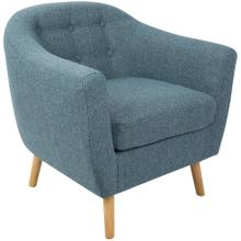 Rockwell Accent Chair - Natural Wood, Blue Noise Fabric